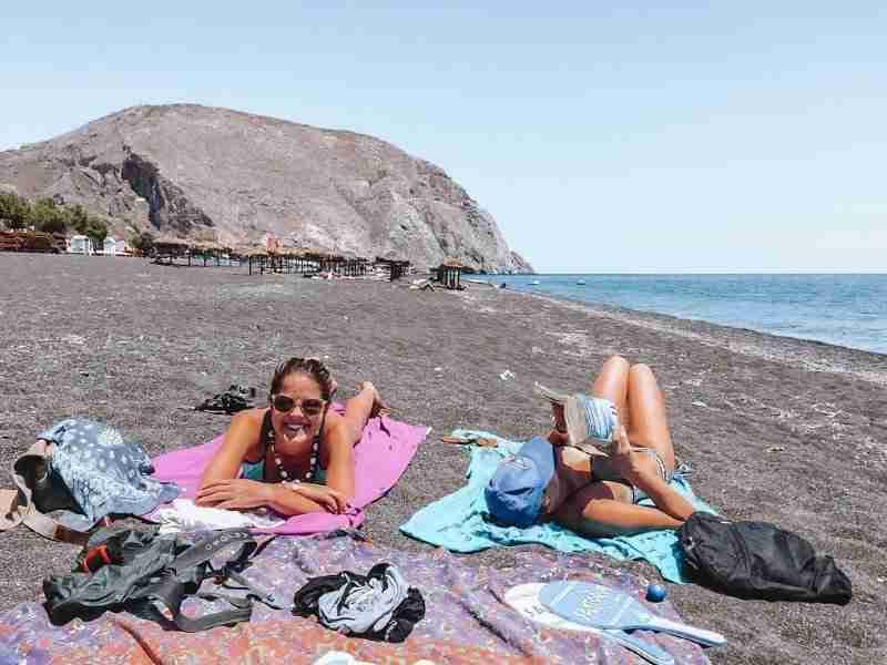 santorini on a budget perissa beach the fearless wanderess